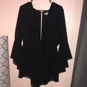Black romper with bell sleeves